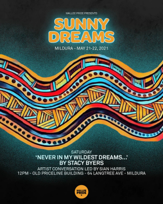 #MalleePride is presenting Sunny Dreams this weekend including 'Never in my Wildest Dreams...' a visual art exhibition curated by Stacy Byers - Come along to 64 Langtree Mall at 12pm this Saturday for the exhibition opening including an artist conversation led by Sian Harris and piano performance by Edward Willoughby - For more information on Sunny Dreams activity this weekend go to @malleepride