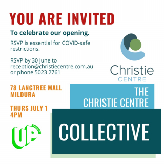 UP Project participants The Christie Centre are celebrating their move into 78 Langtree Mall with an opening at 4pm on 1st July - and everyone is invited! - Come along to The Collective, check out the goodies, make a purchase or two and welcome them to the neighbourhood! - #UpProject #TheChristieCentre #TheCollective #MilduraCityHeart #LoveThisPlace