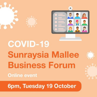 Are you a business owner in the Sunraysia and Mallee region? You're invited to attend an online COVID-19 Forum for business operators and industry.  ONLINE COVID-19 BUSINESS FORUM 📅 Tuesday 19 October 2021 ⏰ 6pm-7pm 💻 Online via Zoom ℹ️ Message us, @Mildura Rural City Council or @Mildura Regional Development on Facebook for details on how to join the Zoom meeting.  Local business operators and owners are invited to this industry-specific event to get information and ask questions about COVID-19 and its impact on their operations.  Information covered at the forum will include: • the current COVID-19 situation in our community • business obligations if your site/staff/customers/contractors are exposed to COVID-19 Regional Victoria's roadmap • COVIDSafe Plans and settings • Support available for businesses  We hope you can make it!  Stay informed. Stay safe.
