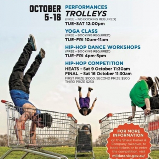 What do you get when you combine ballet with shopping trolleys?! A Shaun Parker creative masterpiece that's what!  -  Dancer and choreographer, Shaun Parker is returning to his Mildura roots and bringing his world renowned dance performance TROLLEYS, along with a series of Hip Hop workshops, Yoga lessons and a dance competition for local dancers and choreographers.  - Taking up residency in the Langtree Mall from October 5 - 16, Parker and his company dancers will be giving free performances, workshops and classes, while searching for talented dancers and choreographers across the region.  - To book a workshop or find out more visit milduracity.com.au