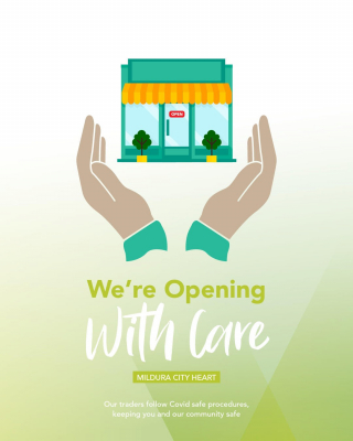 Re-opening with care 🙏🏻 - As we inch closer to re-opening, please remember some Traders will be ready to fling their doors open, while others are still putting measures in place to protect their staff and business. Some Traders are nervous about what lays ahead, and some might even choose to continue to offer click & collect only for a little while longer. - Everyone's ability to re-open differs, and everyone's choice is valid to the needs of the individual business, so we ask that you are patient as our Traders navigate re-opening to the best of their ability, and with public safety in mind.  - #BeKind #LoveLocal #StaySafe #MilduraCityHeart