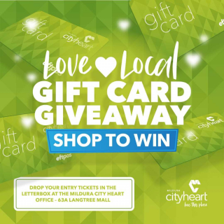 QUICK! It's the final days for the Love 💚Local Gift Card Giveaway Competition. - Have you got a few receipts rolling around in the bottom of your handbag or at the back of your wallet? Make sure you fill out an entry form and drop them into the entry box at the Mildura City Heart office, 63a Langtree Mall. - Saturday's final draws include 11 x $100, 1 x $1,000 and 1 x $2,500 - 💚Be in it to win it! - #LoveLocal #GiftCardGiveaway #MilduraCityHeart #LoveThisPlace